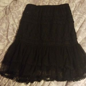 Black lace below the knee ladies skirt